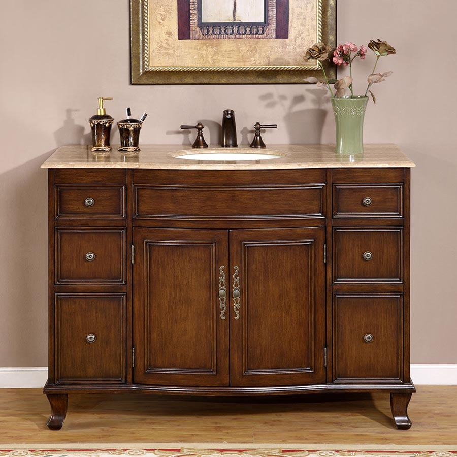 "48"" Single Sink Cabinet - Travertine Top, Undermount Ivory Ceramic Sink (3-hole)"