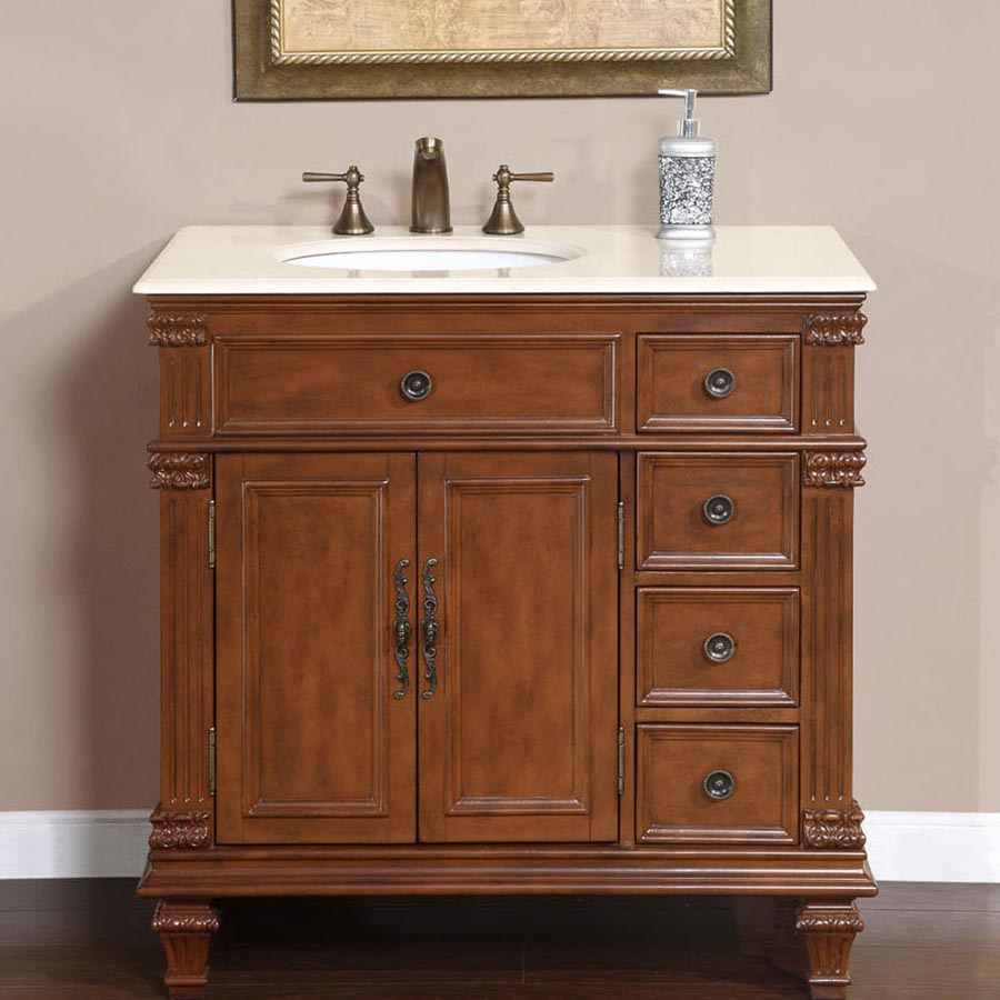 "36"" Single Sink Cabinet (Left Sink or Right Sink Option) - Crema Marfil Top, Undermount White Ceramic Sinks (3-hole)"