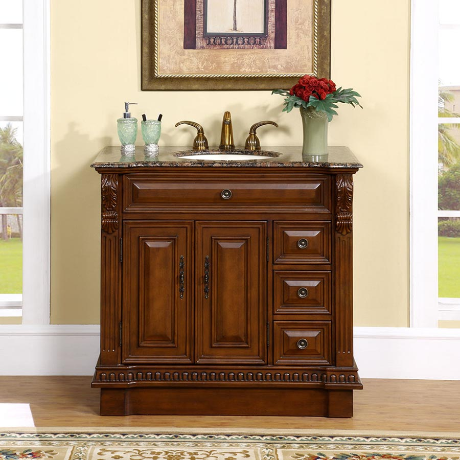 "38"" Single Sink Cabinet - Baltic Brown Top, Undermount Ivory Ceramic Sinks (3-hole)"