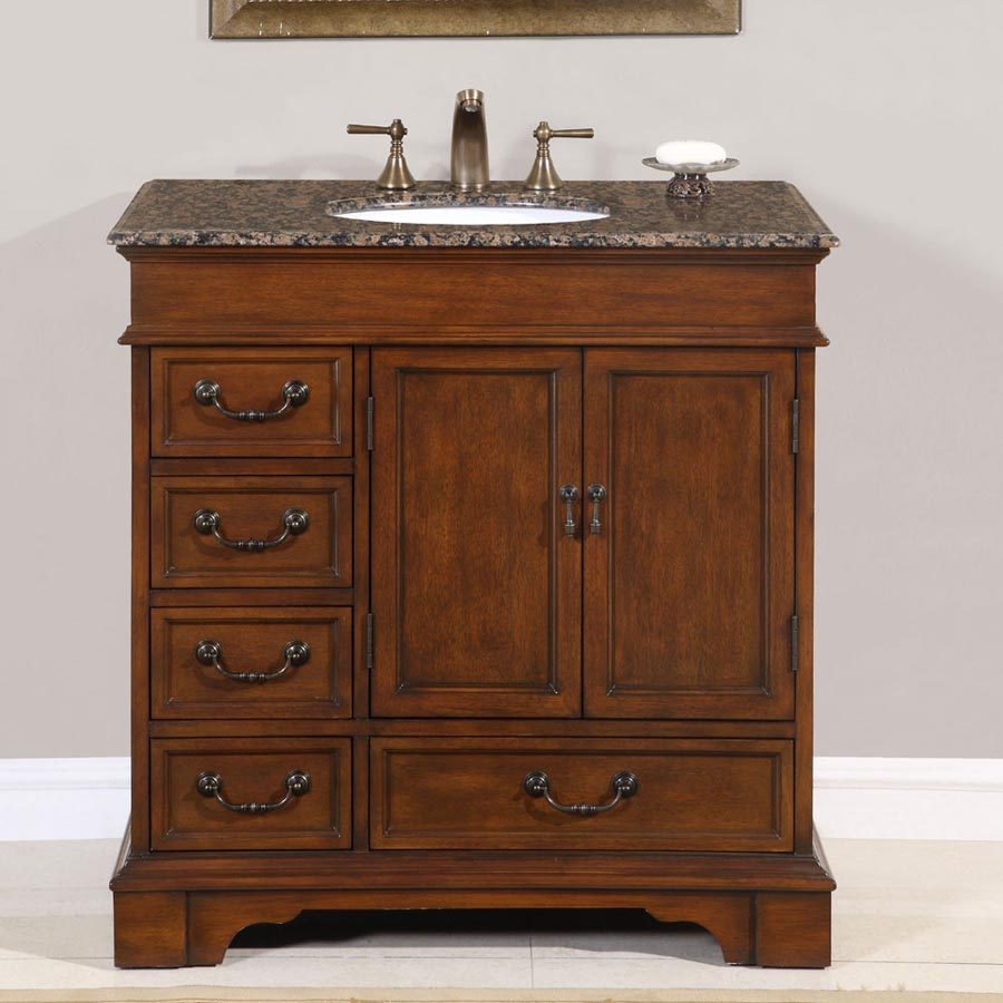 "36"" Single Sink Cabinet - Baltic Brown Top,  Undermount White Ceramic Sinks (3-hole)"