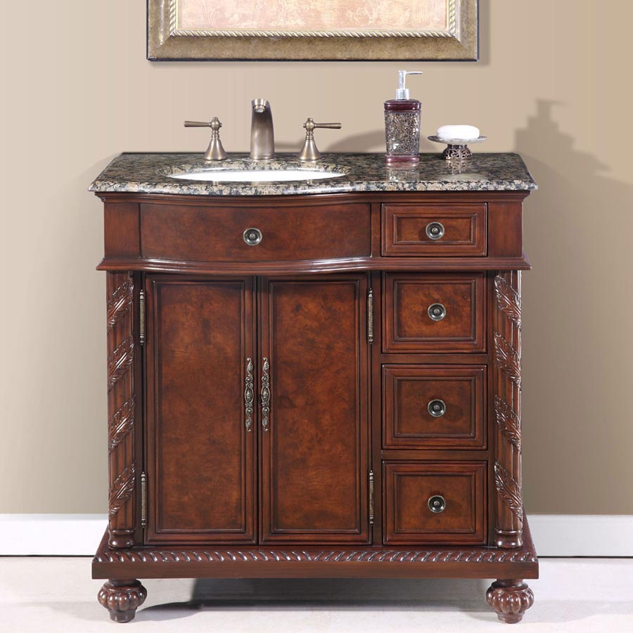"36"" Single Sink Cabinet (Left Sink or Right Sink Option) - Baltic Brown Top, Undermount White Ceramic Sinks (3-hole)"