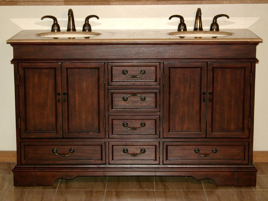 "60"" Double Sink Cabinet - Travertine Top, Undermount Ivory Ceramic Sinks (3-hole)"