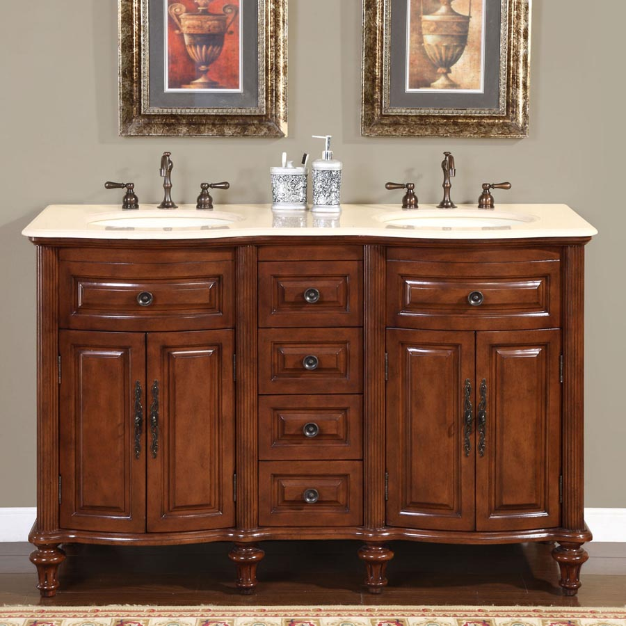 "55"" Double Sink Cabinet - Crema Marfil Top, Undermount Ivory Ceramic Sinks (3-hole)"