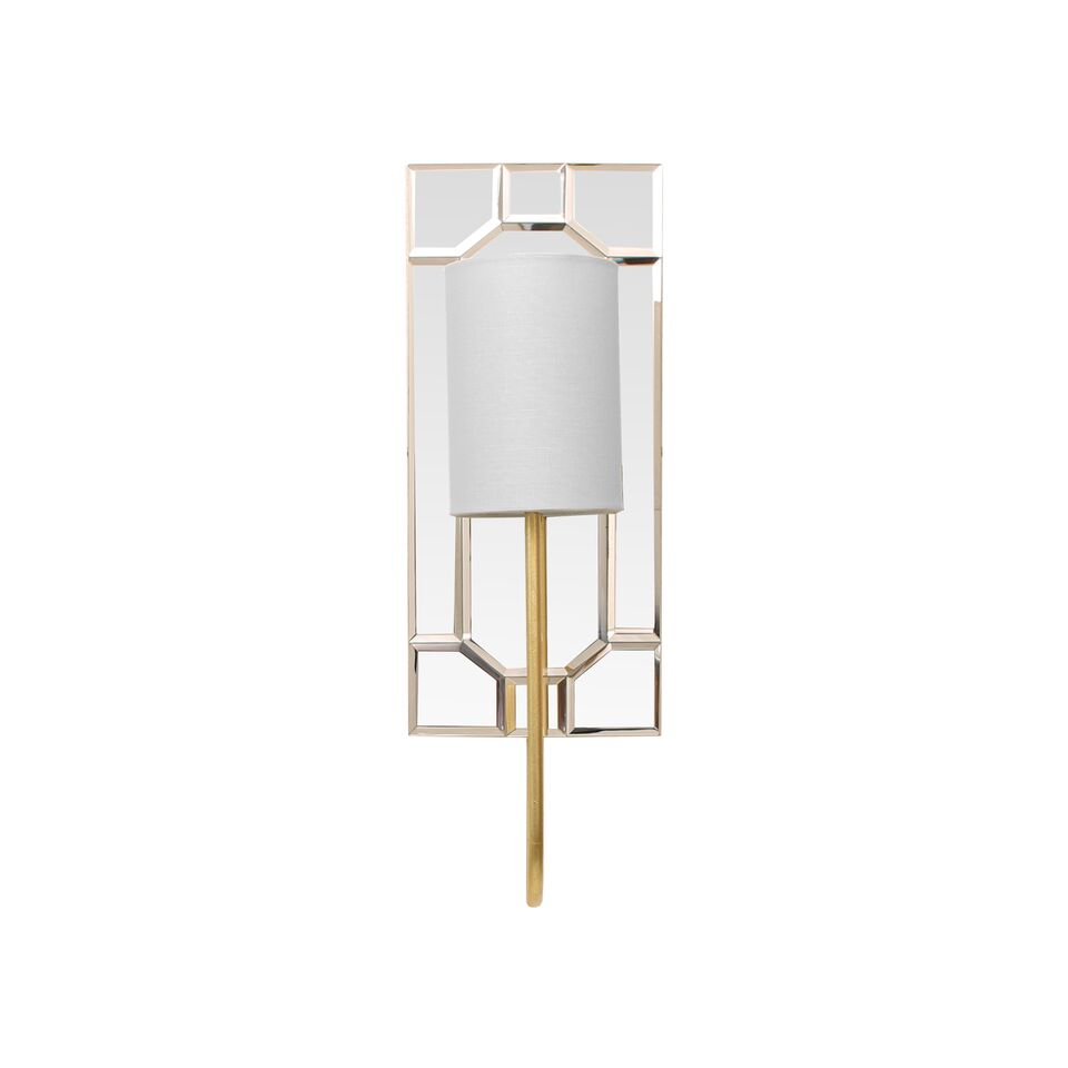 Mirror Sconce with White Linen Shade in Gold Leaf or Nickel Option