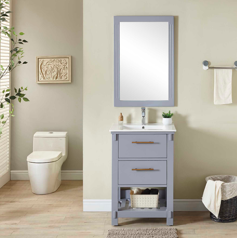 "24"" Single Sink Bathroom Vanity in Grey Finish with Ceramic Top - No Faucet"