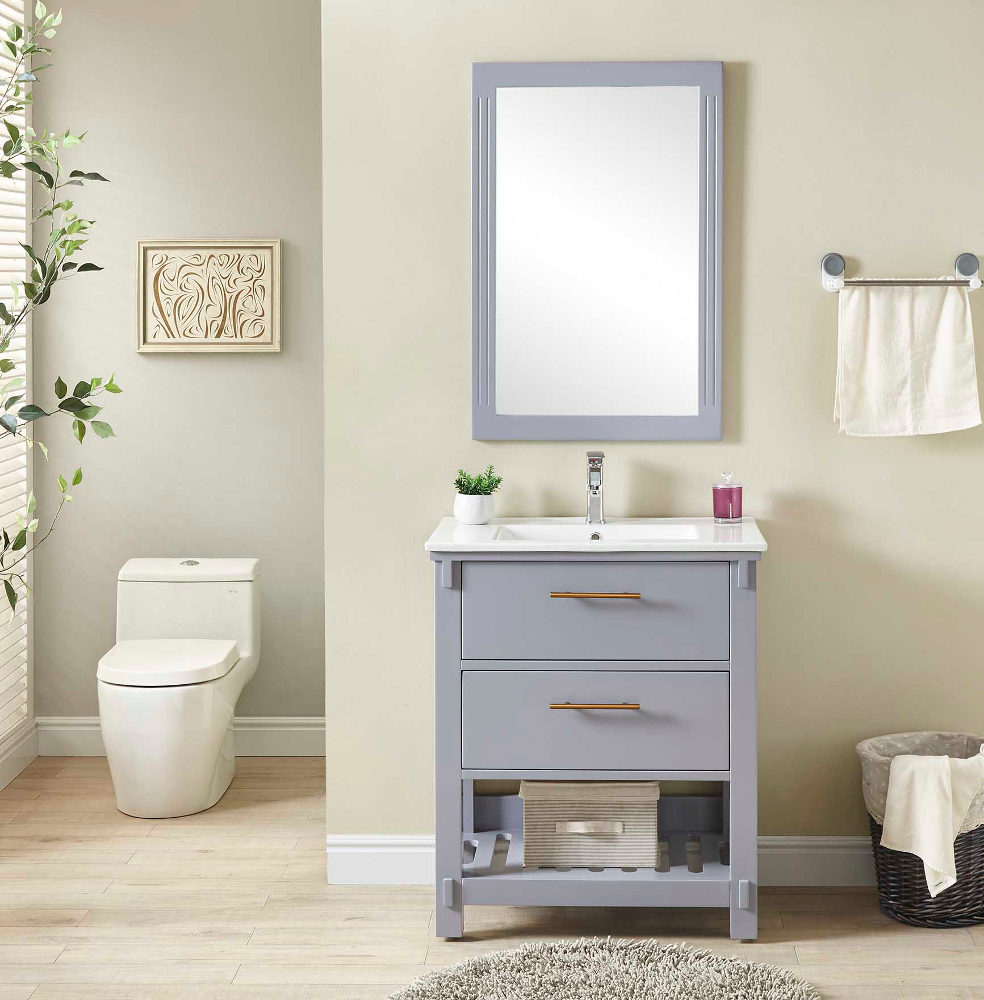 "30"" Single Sink Bathroom Vanity in Grey Finish with Ceramic Top - No Faucet"