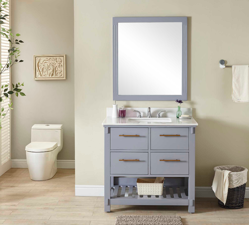 "36"" Single Sink Bathroom Vanity in Grey Finish with Arctic Pearl Quartz Marble Top- No Faucet"