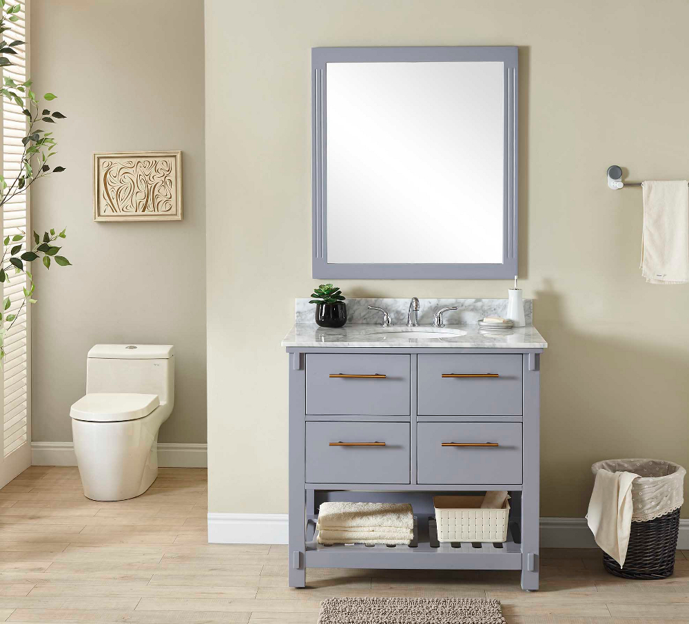 "36"" Single Sink Bathroom Vanity in Grey Finish with Carrara White Marble Top- No Faucet"