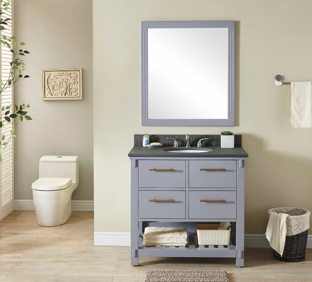 "36"" Single Sink Bathroom Vanity in Grey Finish with Polished Textured Surface Granite Top- No Faucet"