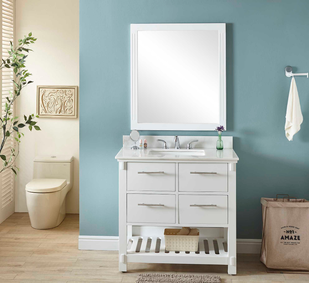 "36"" Single Sink Bathroom Vanity in White Finish with Arctic Pearl Quartz Marble Top - No Faucet"