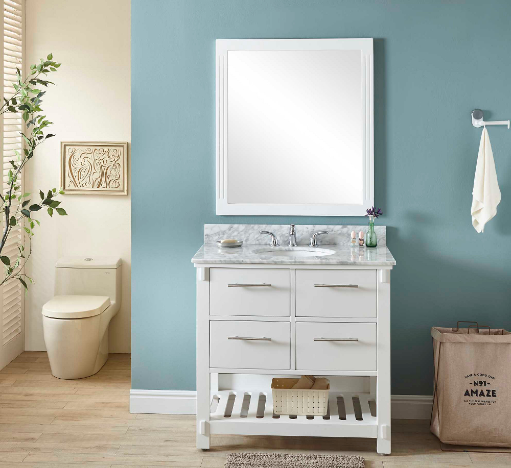 "36"" Single Sink Bathroom Vanity in White Finish with Carrara White Marble Top - No Faucet"
