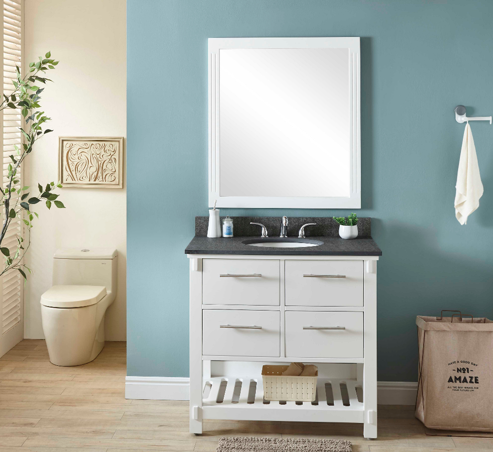 "36"" Single Sink Bathroom Vanity in White Finish with Polished Textured Surface Granite Top - No Faucet"
