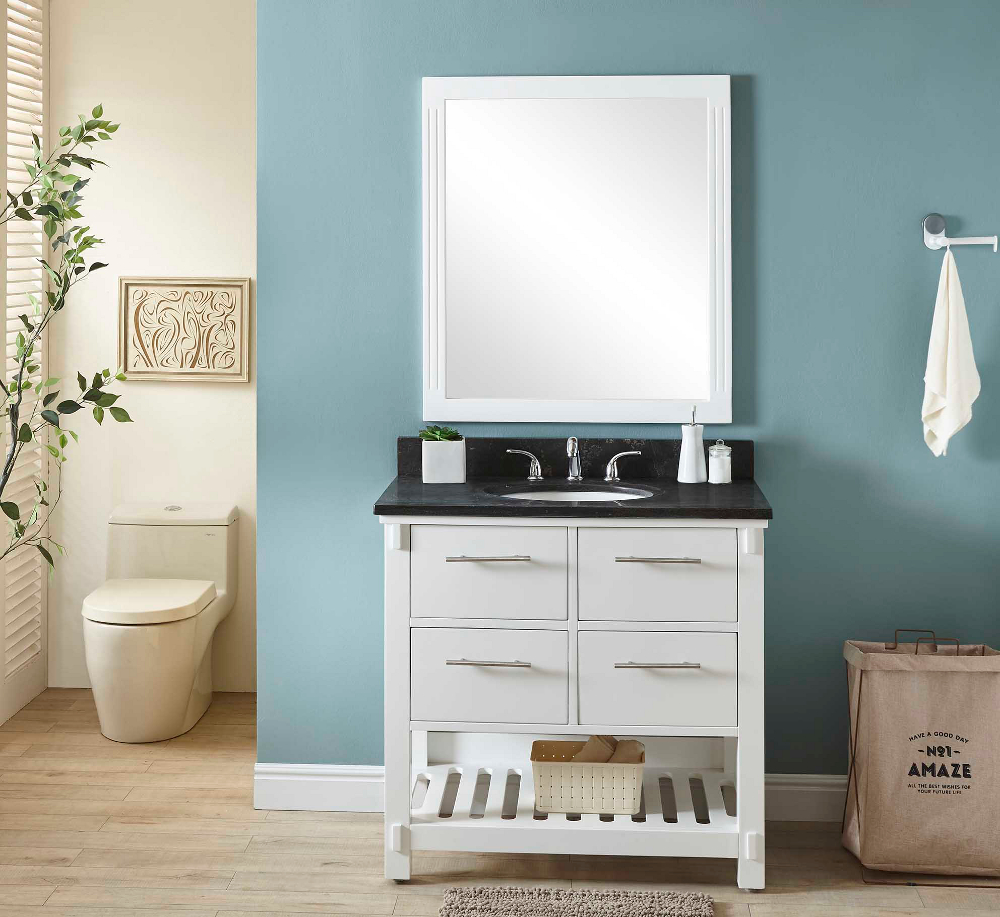 "36"" Single Sink Bathroom Vanity in White Finish with Limestone Top- No Faucet"