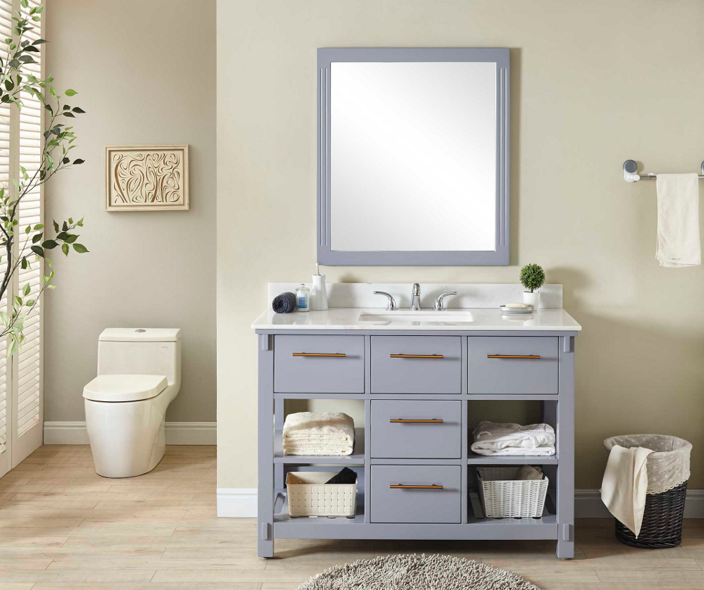 "48"" Single Sink Bathroom Vanity in Grey Finish with Arctic Pearl Quartz Marble Top - No Faucet"