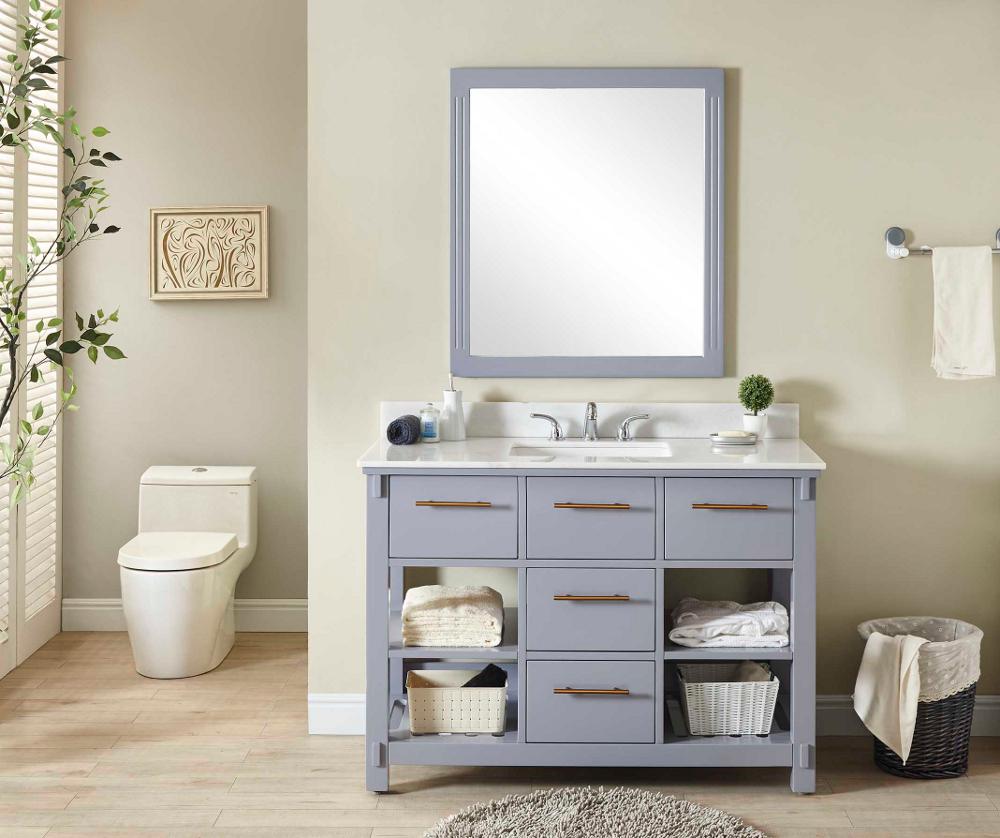 "48"" Single Sink Bathroom Vanity in Grey Finish with Arctic Pearl Quartz Marble Top - No Faucet"