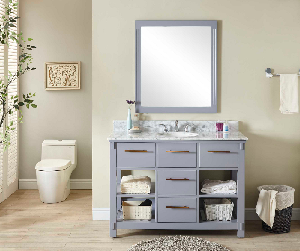 "48"" Single Sink Bathroom Vanity in Grey Finish with Carrara White Marble Top - No Faucet"