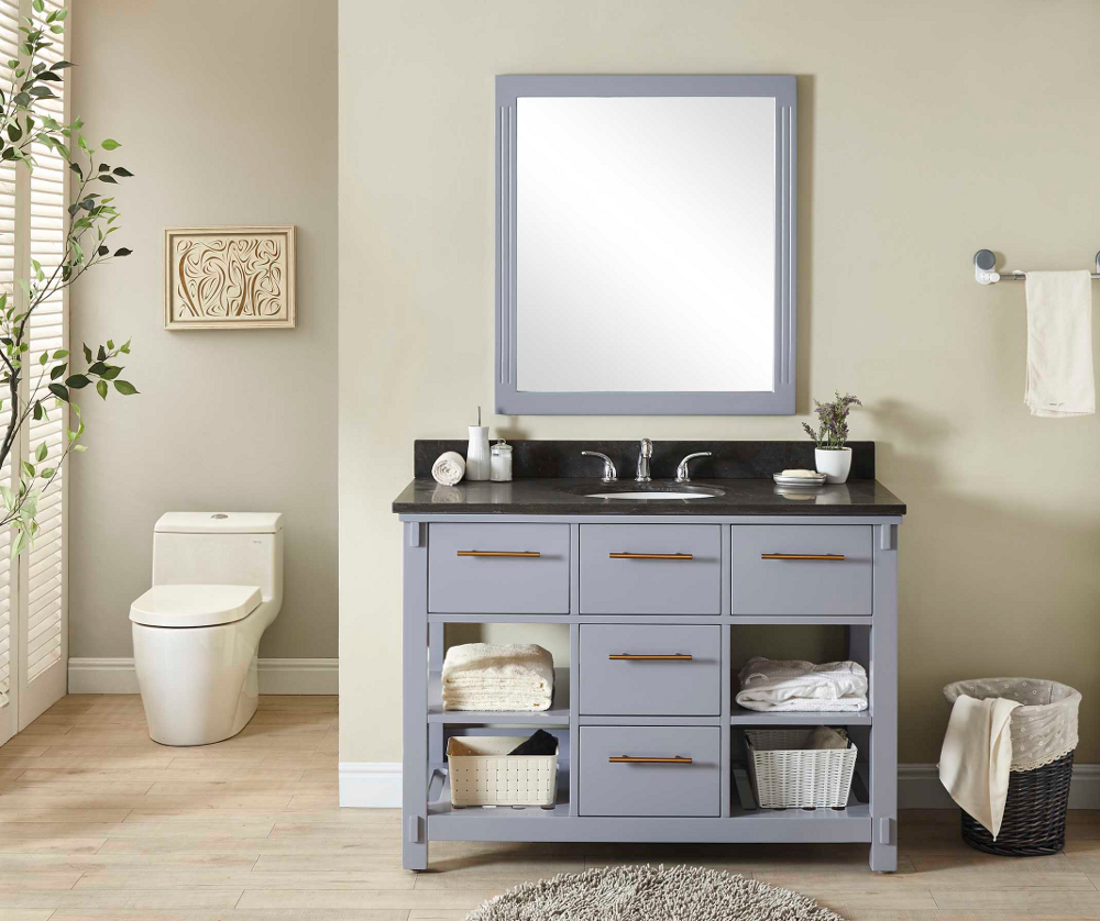 "48"" Single Sink Bathroom Vanity in Grey Finish with Limestone Top - No Faucet"
