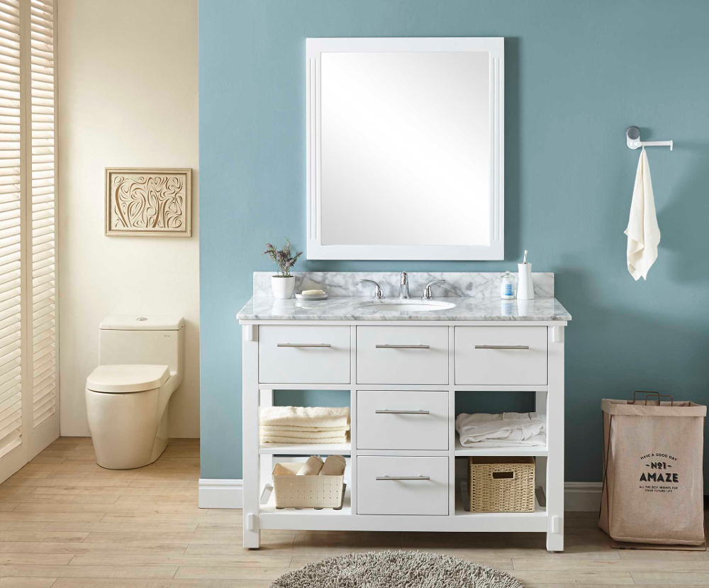 "48"" Single Sink Bathroom Vanity in White Finish with Carrara White Marble Top - No Faucet"
