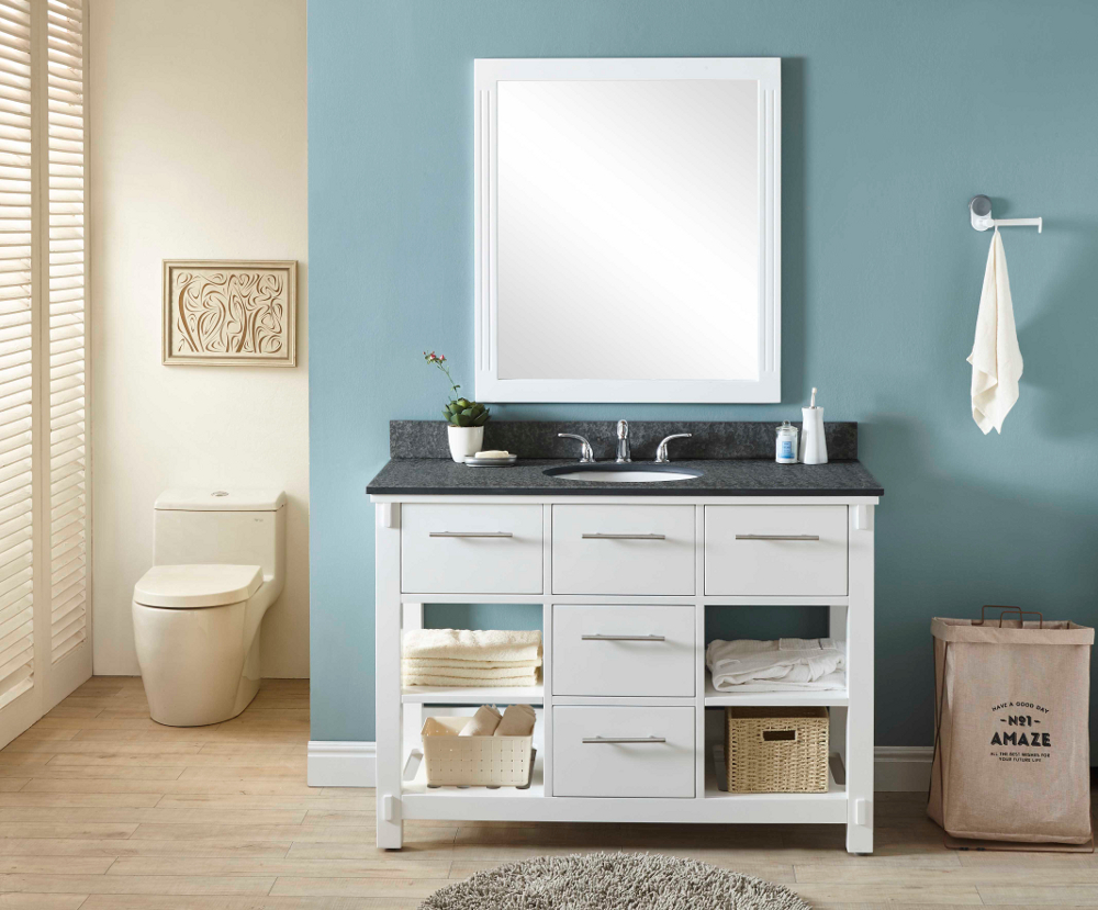 "48"" Single Sink Bathroom Vanity in White Finish with Polished Textured Surface Granite Top - No Faucet"