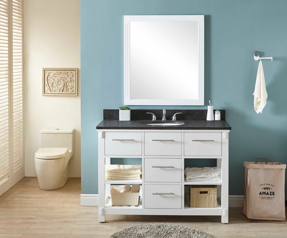 "48"" Single Sink Bathroom Vanity in White Finish with Limestone Top - No Faucet"