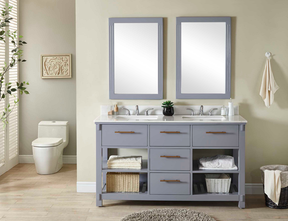 "60"" Double Sink Bathroom Vanity in Grey Finish with Arctic Pearl Quartz Marble Top - No Faucet"