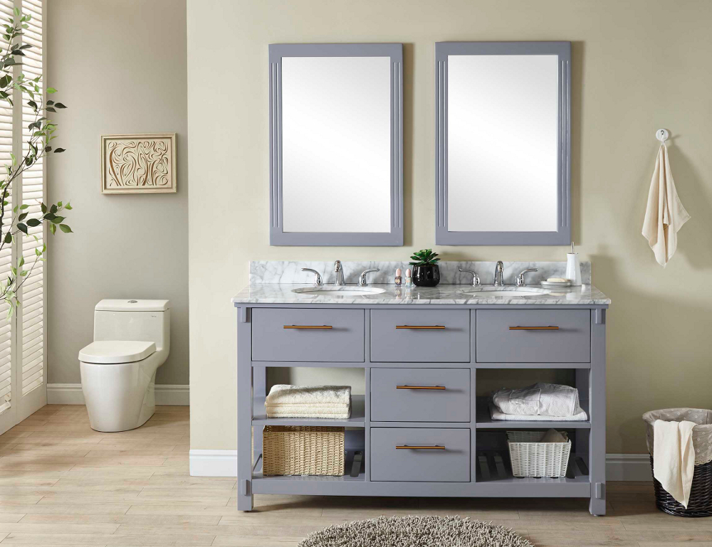 "60"" Double Sink Bathroom Vanity in Grey Finish with Carrara White Marble Top - No Faucet"