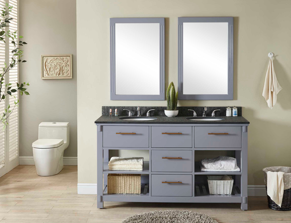 "60"" Double Sink Bathroom Vanity in Grey Finish with Polished Textured Surface Granite Top - No Faucet"