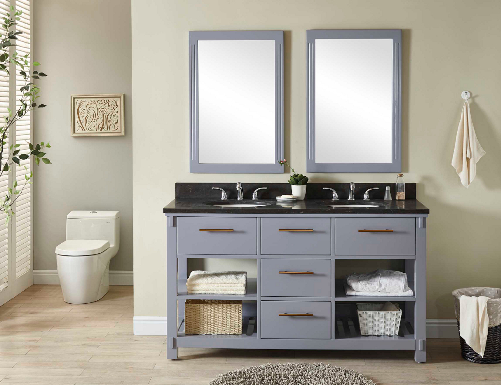 "60"" Double Sink Bathroom Vanity in Grey Finish with Limestone Top - No Faucet"