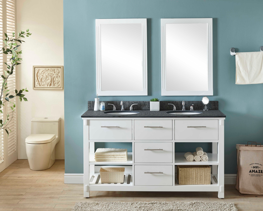 """60"""" Double Sink Bathroom Vanity in White Finish with Polished Textured Surface Granite Top - No Faucet"""