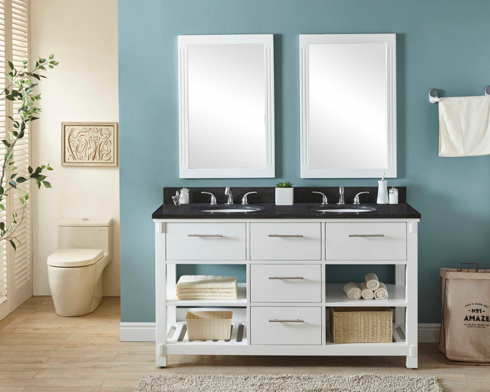 "60"" Double Sink Bathroom Vanity in White Finish with Limestone Top - No Faucet"
