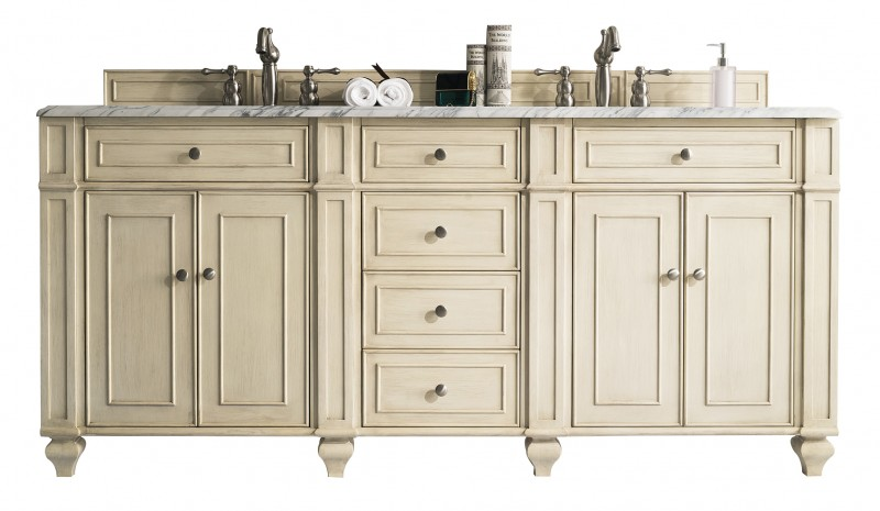72 inch Double Sink Bathroom Vanity Vintage Vanilla Finish
