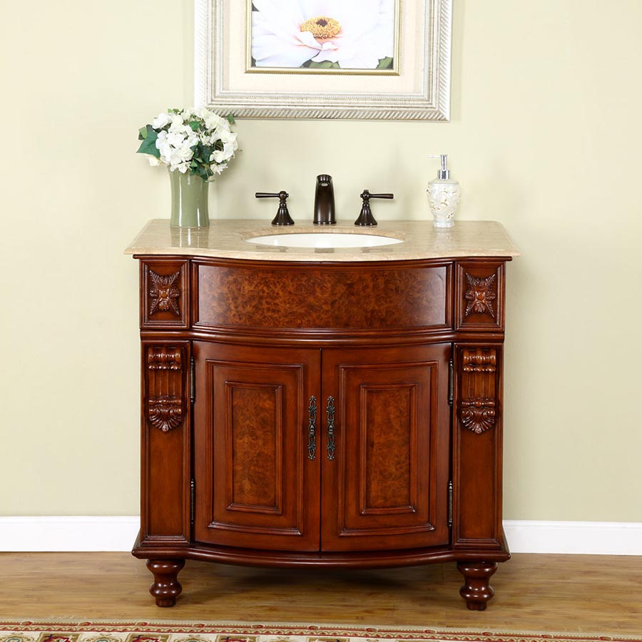 "36"" Single Sink Cabinet - Travertine Top, Undermount Ivory Ceramic Sink (3-hole)"