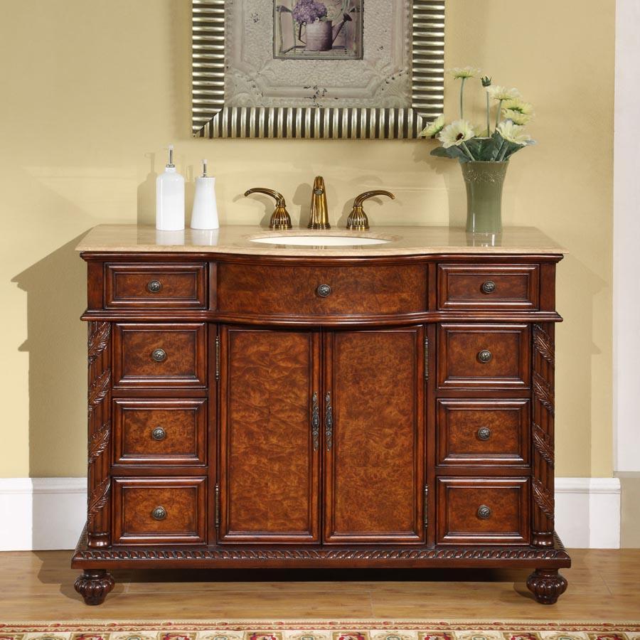 "48"" Single Sink Cabinet - Roman Vein Cut Travertine Top, Undermount Ivory Ceramic Sink (3-hole)"