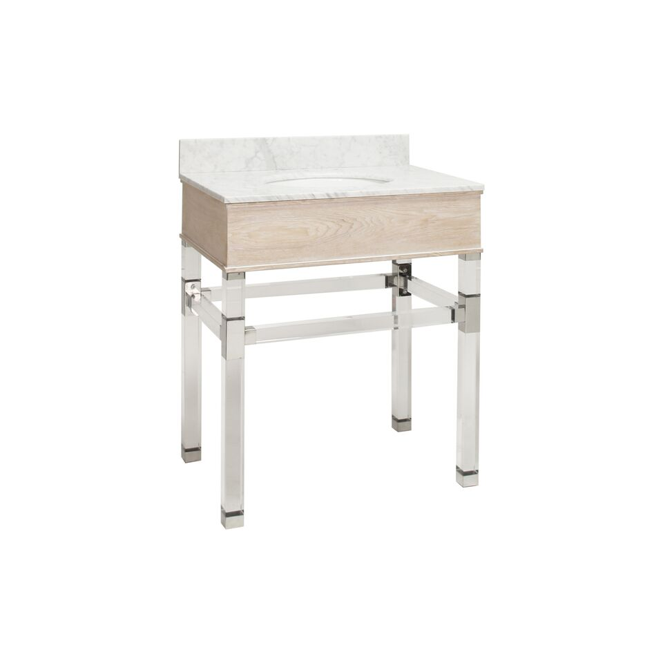 "30.5"" Isaac Edwards Collection Cerused Oak Acrylic & Nickel Vanity with White Marble Top, Backsplash Option"