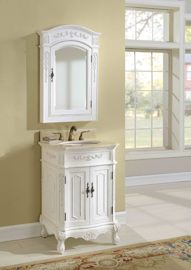"24"" Antique White Vanity with Mirror, Med Cab, and Linen Cabinet Options"