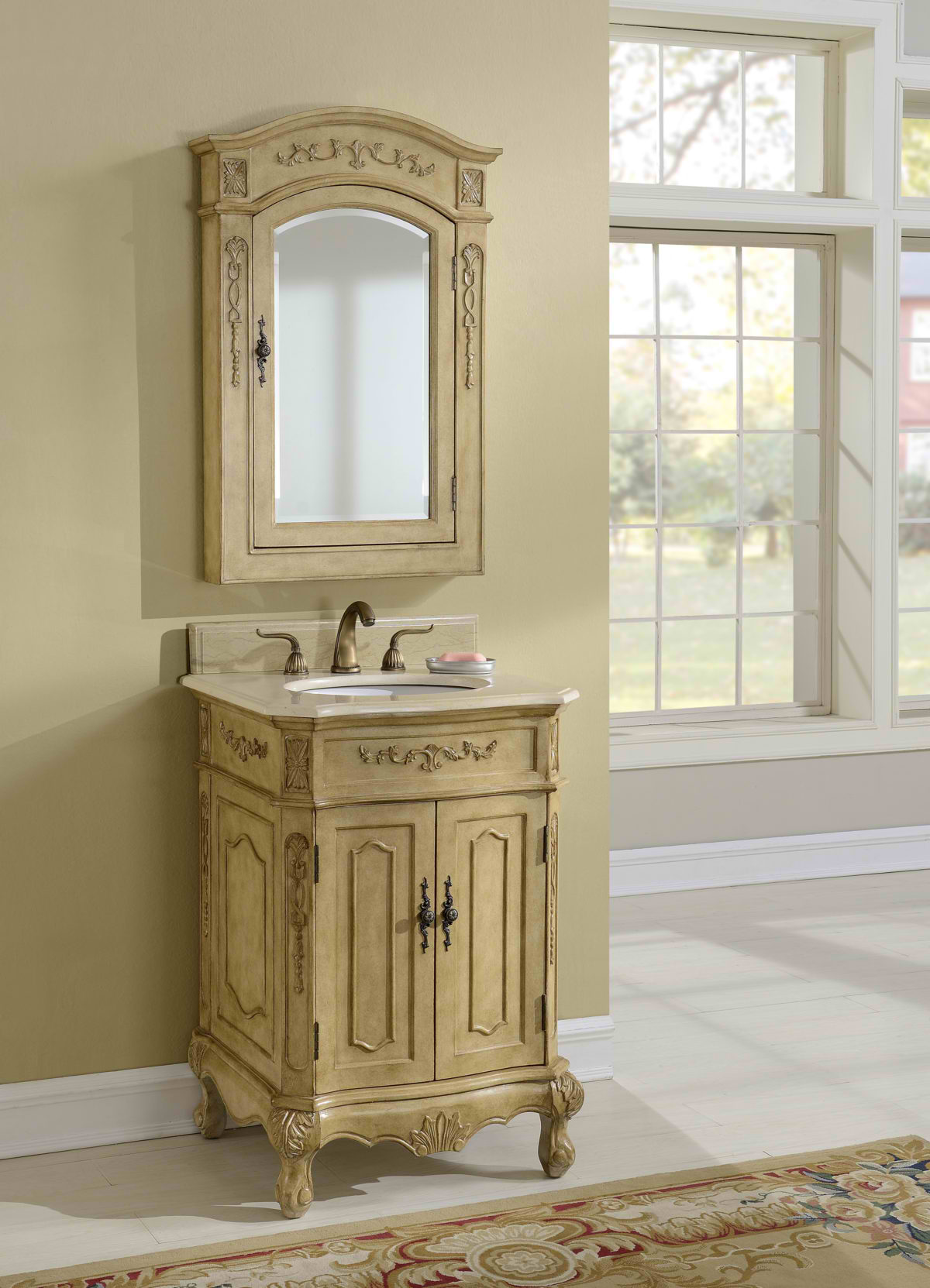 "24"" Tan Vanity with Matching Medicine Cabinet"