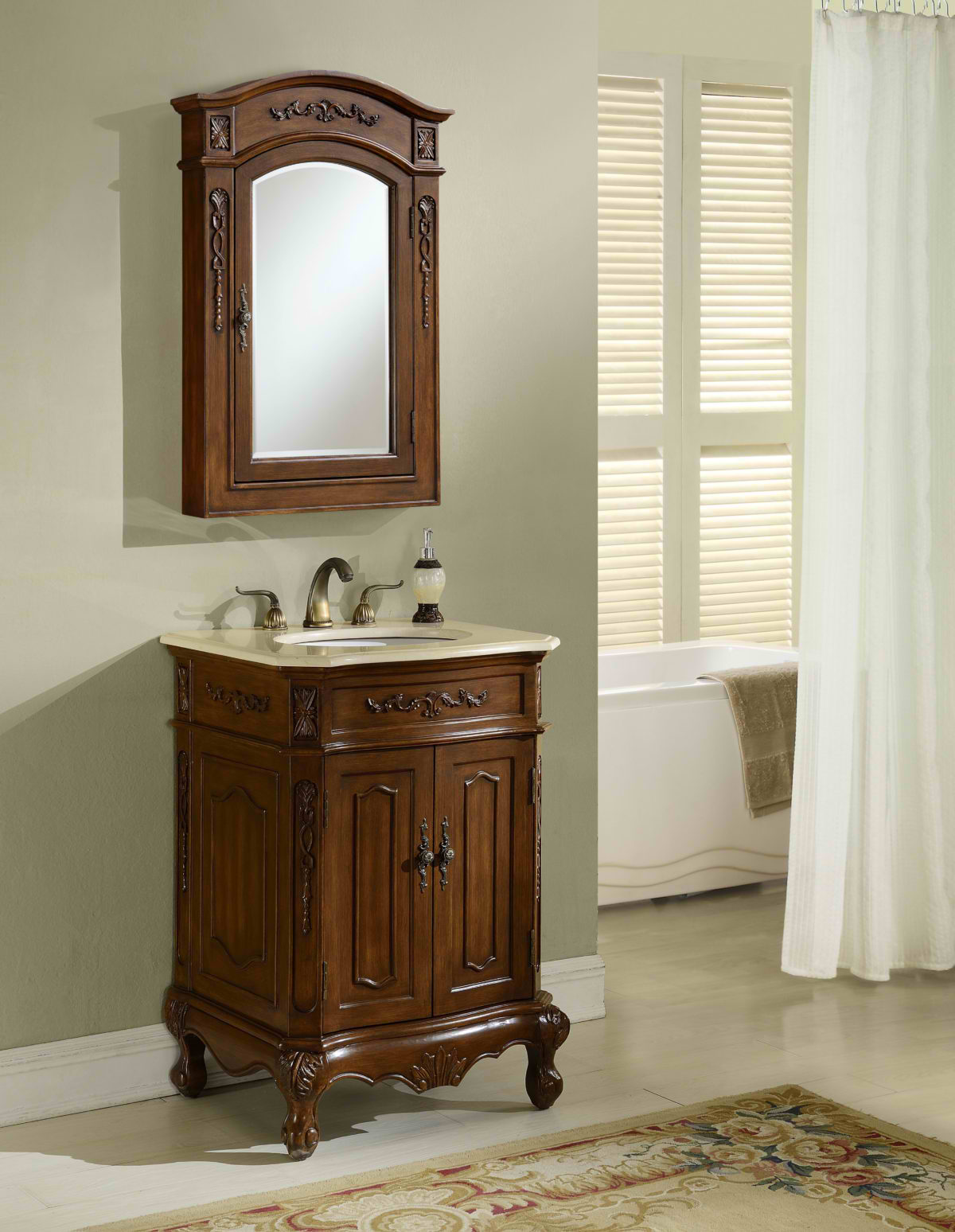 "24"" Antique Deep Chestnut Finish Vanity with Mirror, Med Cab, and Linen Cabinet Options"
