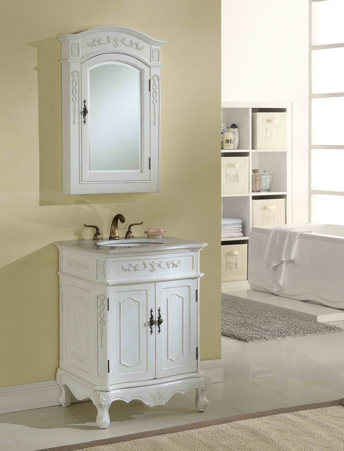 "27"" Antique White Finish Vanity with Mirror, Med Cab, and Linen Cabinet Options"