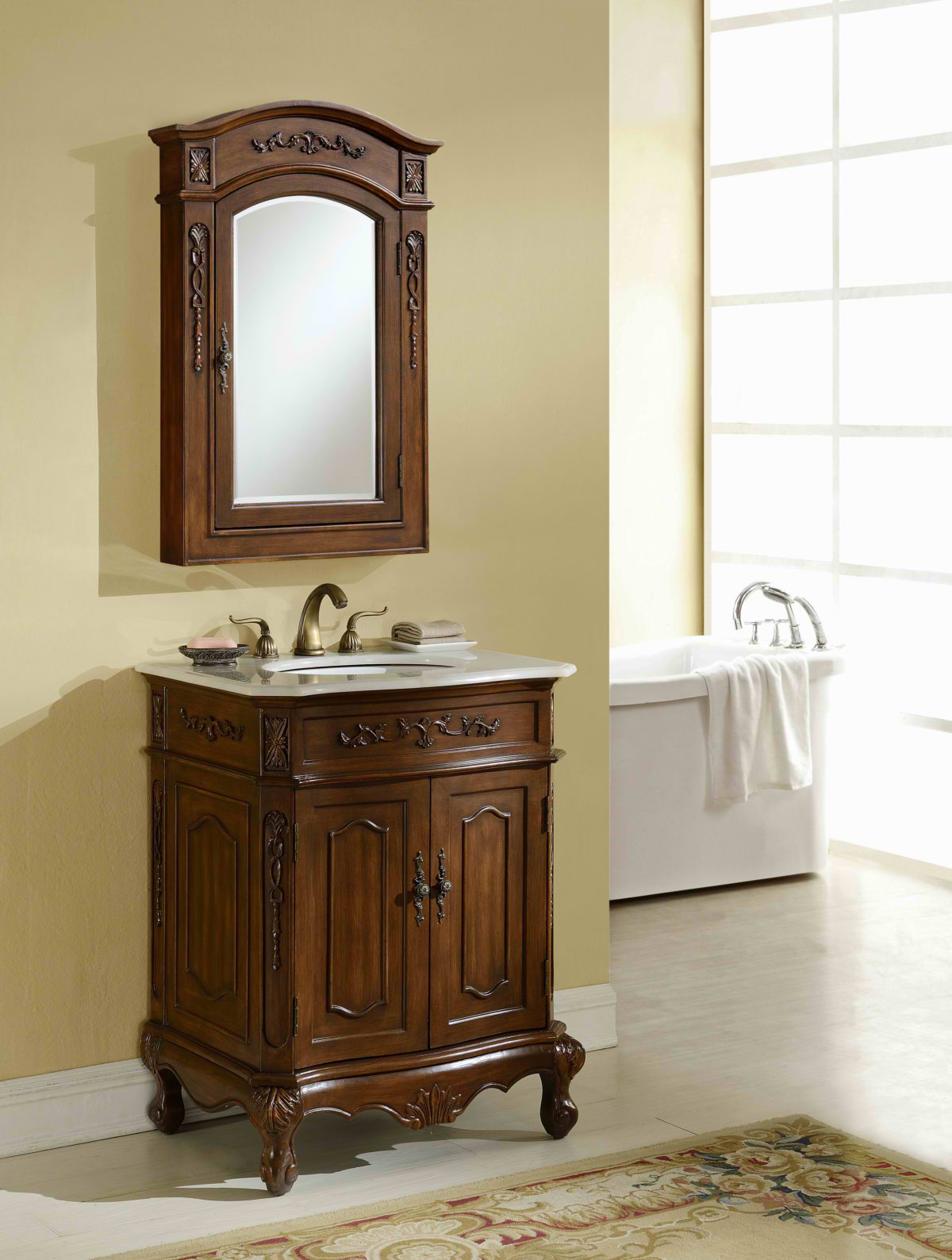 "27"" Deep Chestnut Finish Vanity, 2 Marble Top Option with Matching Medicine Cabinet"