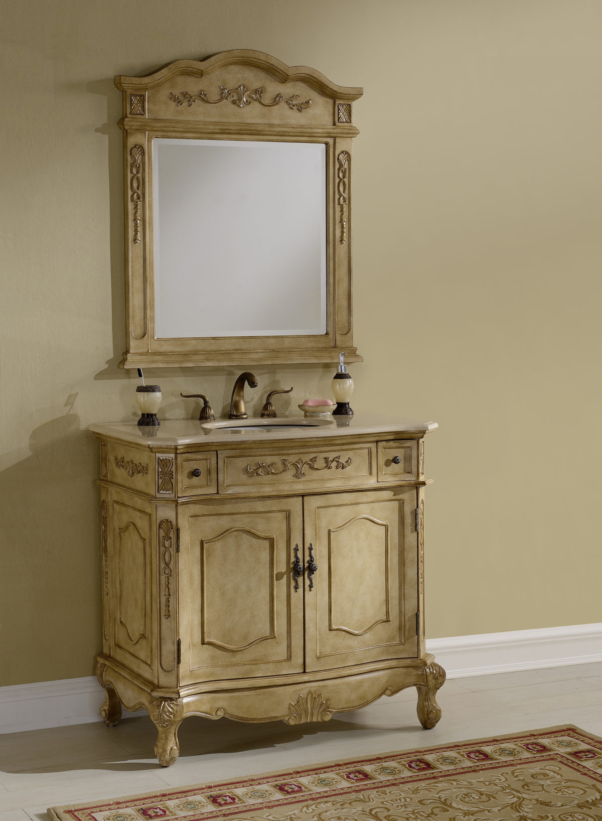 "36"" Tan Vanity with Matching Mirror"