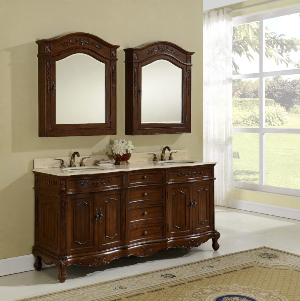 "72"" Antique Chestnut Finish Vanity with Mirror, Med Cab, and Linen Cabinet Option"