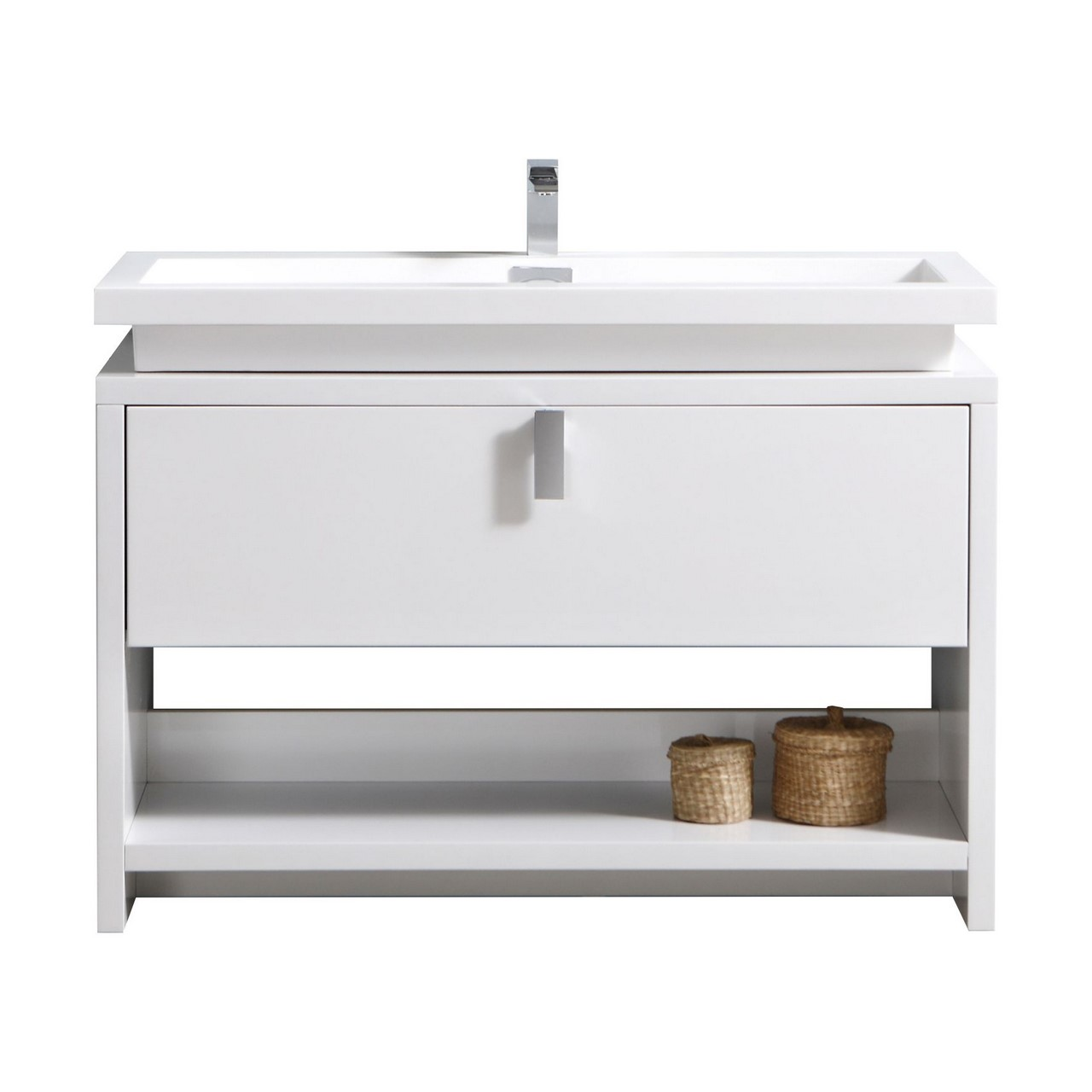 "Modern Vanity 48"" High Modern Bathroom Vanity w/ Cubby Hole and Color Option"