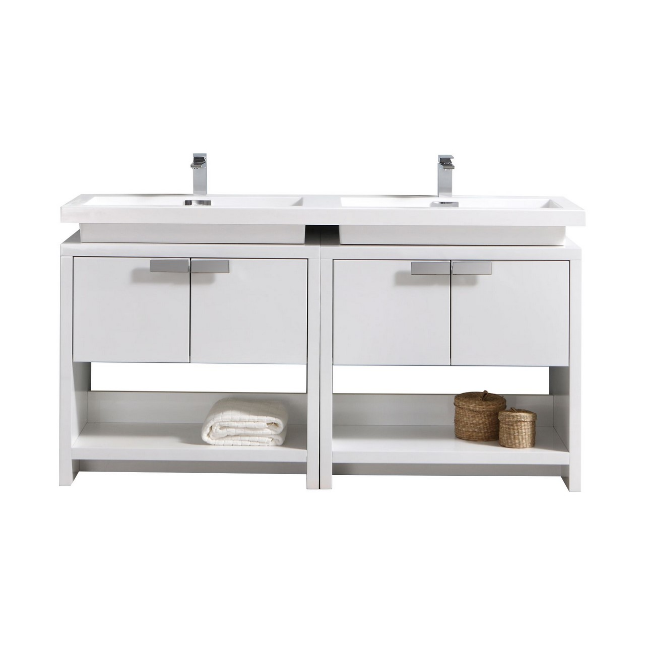 "Modern Lux 63"" High Gloss White Modern Bathroom Vanity w/ Cubby Hole"