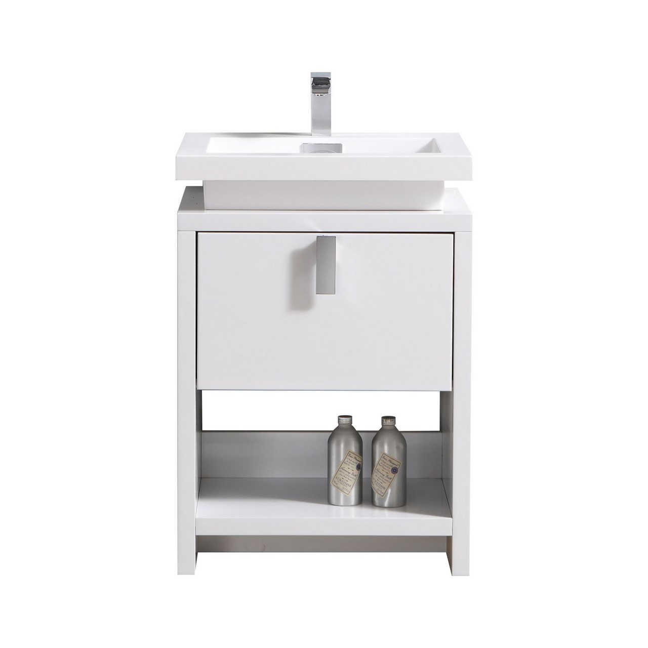 "Modern Lux 24"" High Gloss White Modern Bathroom Vanity w/ Cubby Hole"