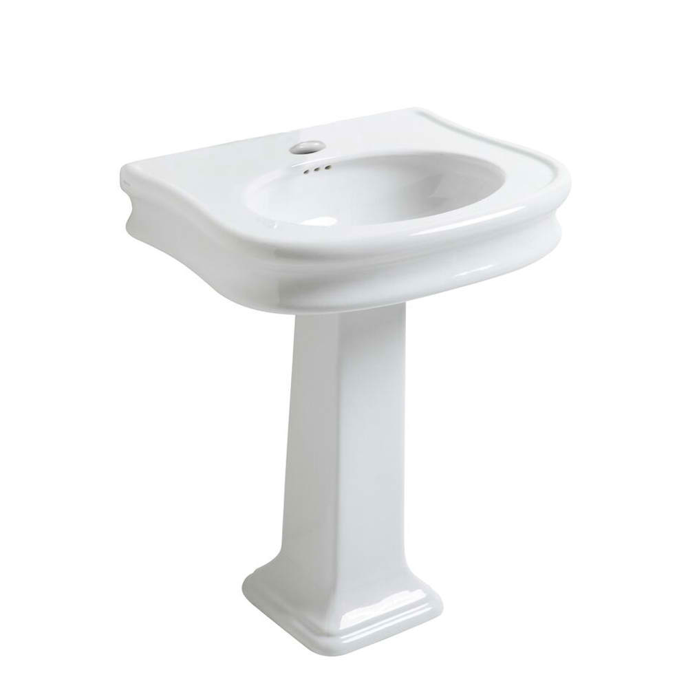Isabella Collection Traditional Pedestal Sink with Integrated Oval Bowl, Seamless Rounded Decorative Trim, Rear Overflow with 2 Faucet Drill Options