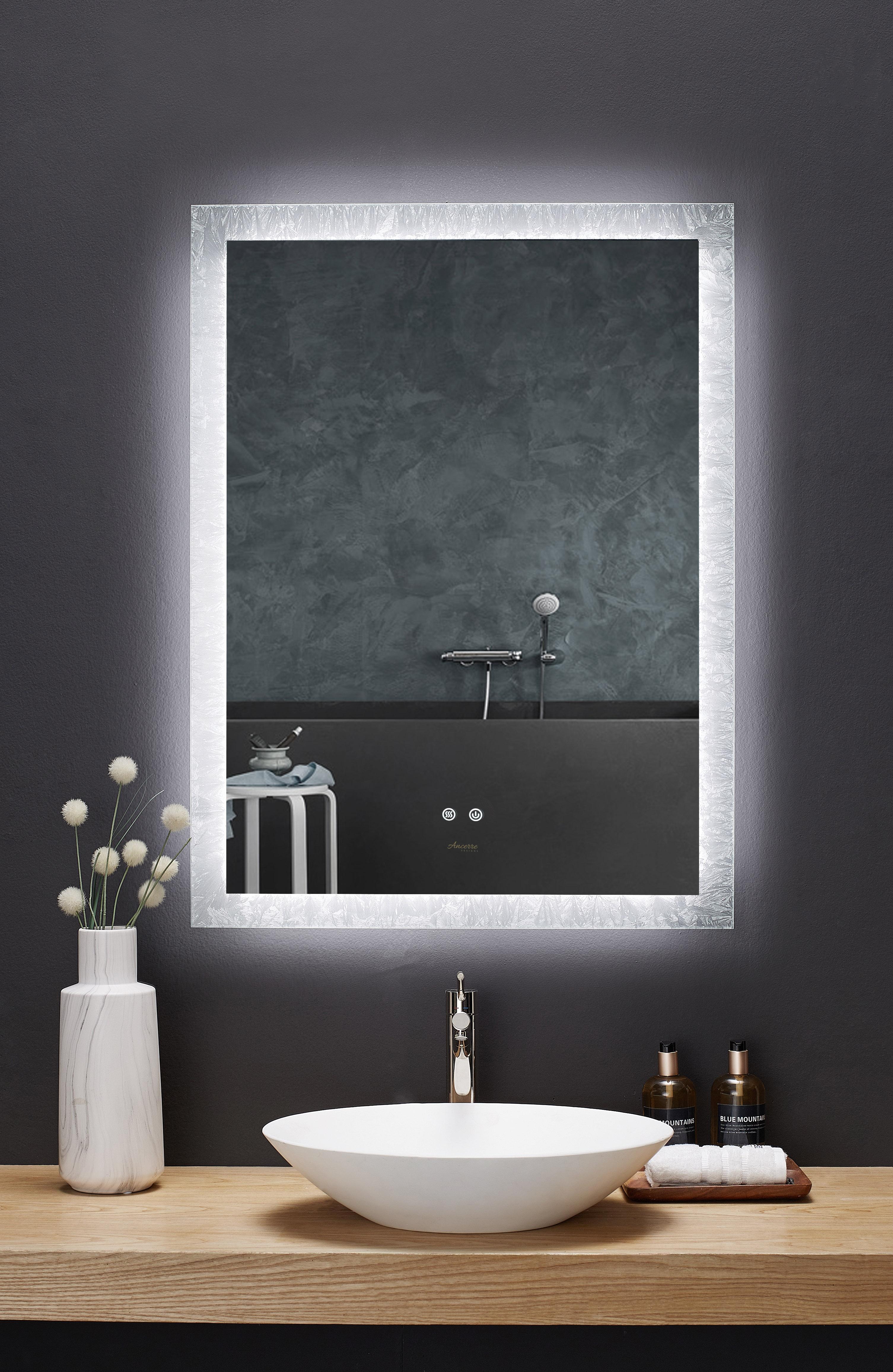 "24"" x 40"" LED Frameless Rectangular Mirror with Dimmer and Defogger"