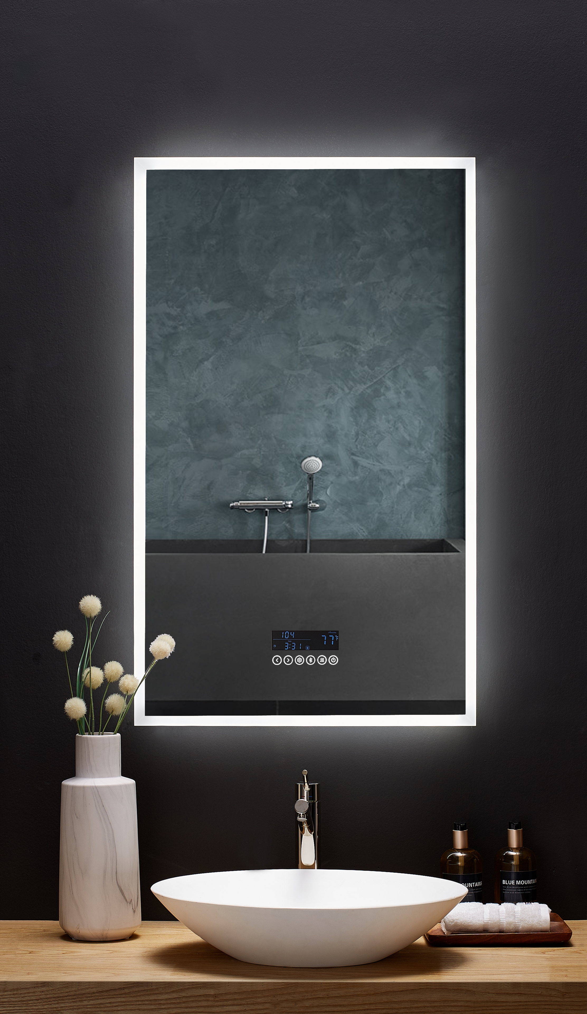 24 in. x 40 in. LED Frameless Mirror with Bluetooth, Defogger and Digital Display