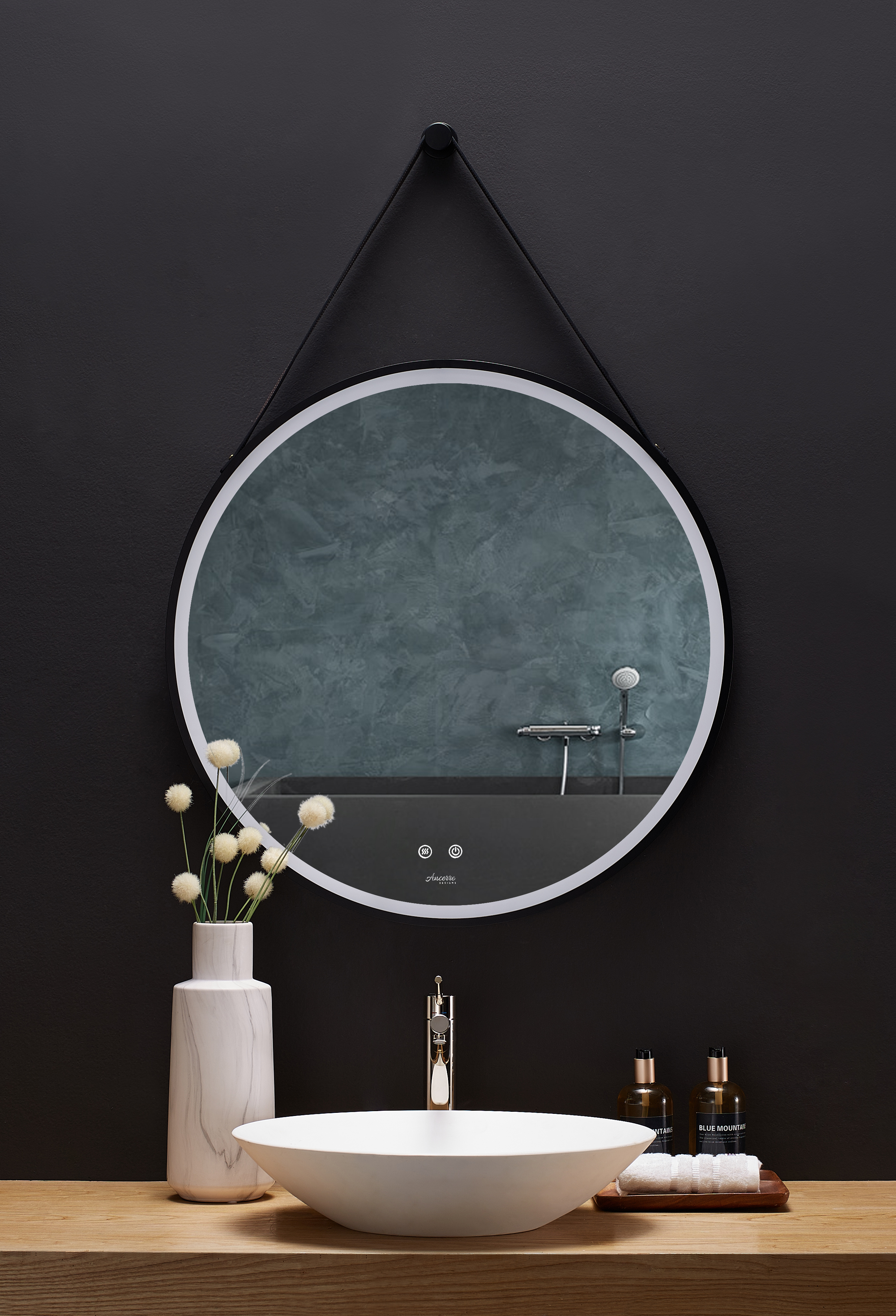 30 in. Round LED Black Framed Mirror with Defogger and Vegan Leather Strap