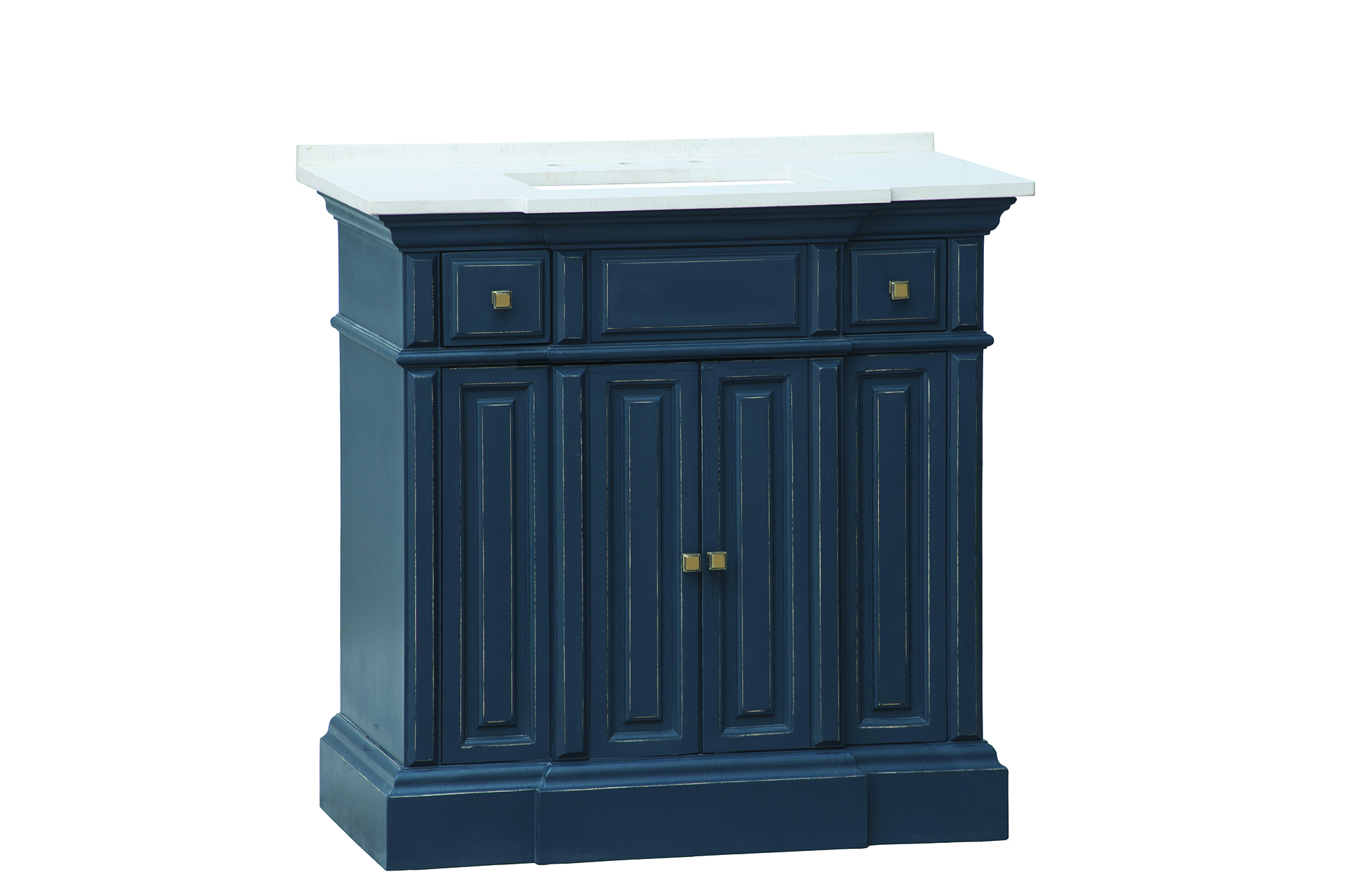 "Nantucket 36"" Single Sink White with Grey Veining Top with Distressed Navy Blue Finish"