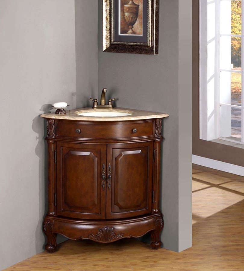 """32"""" Single Corner Sink Cabinet - Travertine, Undermount White Ceramic Sink (4""""-center)"""